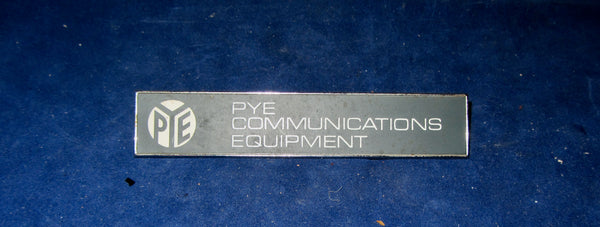 "ALUMINIUM PLATE , PYE COMMUNICATIONS EQUIPMENT,  4"" X 1"""