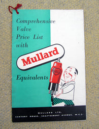 MULLARD, COMPREHENSIVE VALVE EQUIVALENTS LIST, 1950S,
