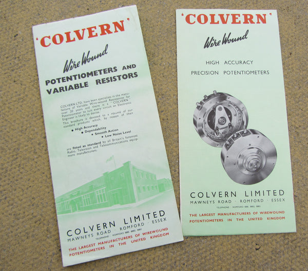 COLVERN WIREWOUND POTENTIOMETERS, CATALOGUE , 1960s x2
