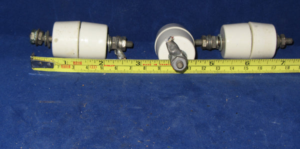 BULLERS, CERAMIC, LEAD IN BUSHINGS, COTTON REEL TYPE, SET OF TWO WITH CENTRE STUDDING