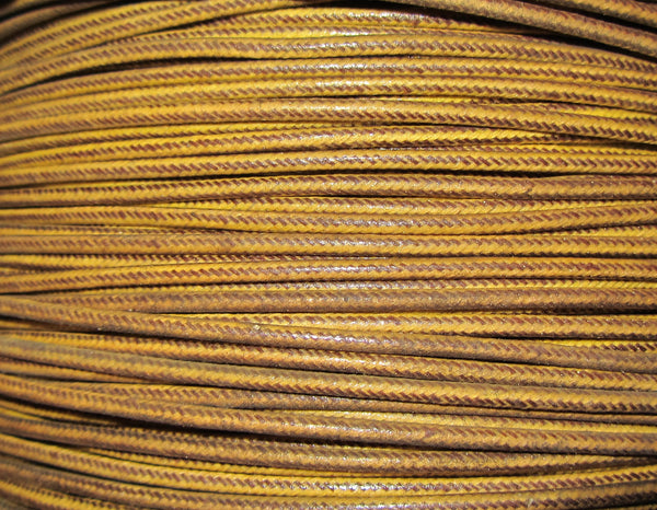 SILK BRAID COVERED VINTAGE 20 AWG HOOK UP WIRE  GOLD WITH BROWN PARALLEL STRIPE TRACER STRIPE