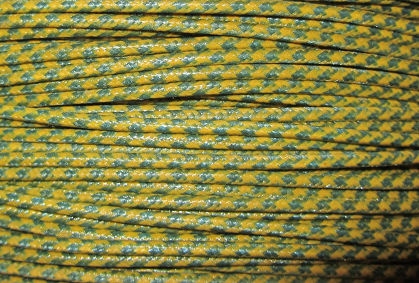 SILK BRAID COVERED VINTAGE 20 AWG HOOK UP WIRE YELLOW WITH BLUE STRIPE TRACER STRIPE
