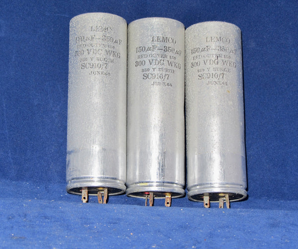 150 + 300uF @ 300V WKG, LEMCO, DUAL SECTION, ELCTROLYTIC CAPACITORS, AXIAL