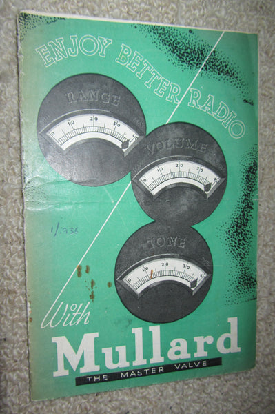 MULLARD THE MASTER VALVE, PRICE LIST & EQUIVALENT CHART FROM 1936