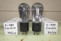 C484 Cardon  Vacuum Tube Globe Style Engraved Base matched pair