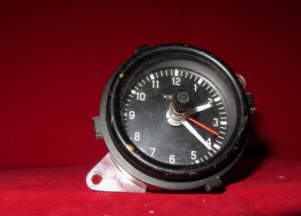 KIENZLE, CAR CLOCK, BLACK ROUND BRASS BEZEL,, 1970'S WORKING