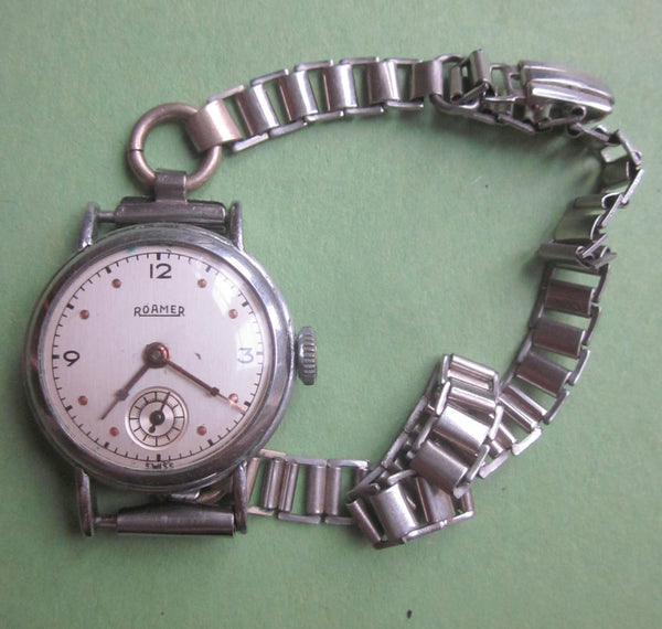 ROAMER MANUAL WIND MECHANICAL 1940S LADIES WATCH WITH SUB SECONDS DIAL & BONKLIP STYLE BRACELET NOT WORKING