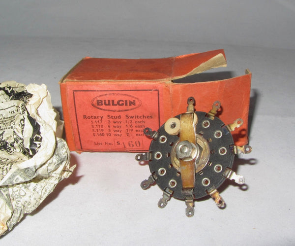 BULGIN ROTARY STUD SWITCH 10 WAY S160 BOXED, FROM 1937