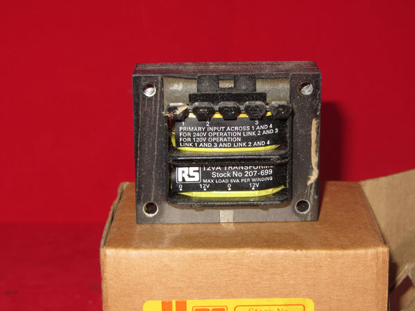 12VA, P.C.B.TRANSFORMER, RS Stock No. 207-699, NEUTRAL, PRIM 0-120V 0-120V ,SEC 0-12V 0-12V, NEW BOXED