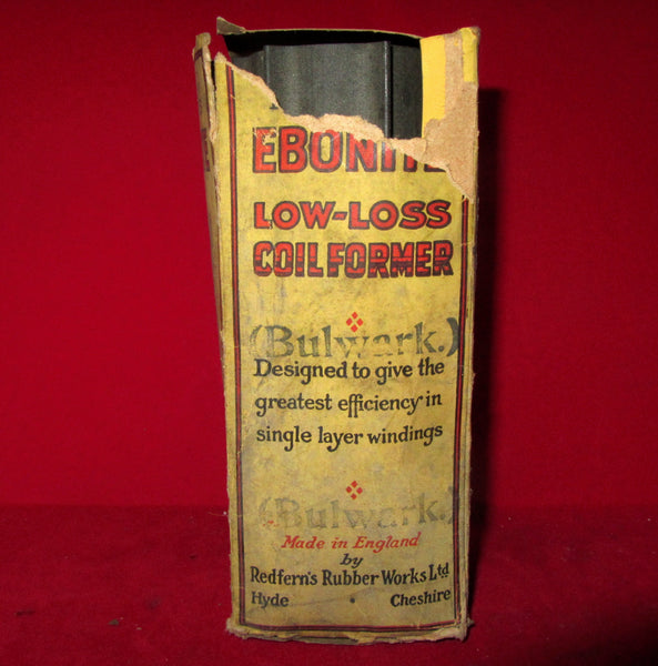 1930S,  EBONITE, COIL FORMER, COIL QUOIT, BOXED, REDFERNS RUBBER COMPANY, HYDE, 150 x 55mm