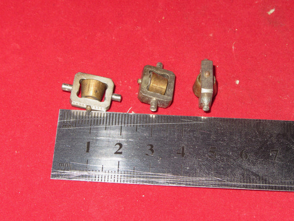 3X ,SMALL BRASS WHEELED ,GIMBAL MOUNTED PULLEYS,