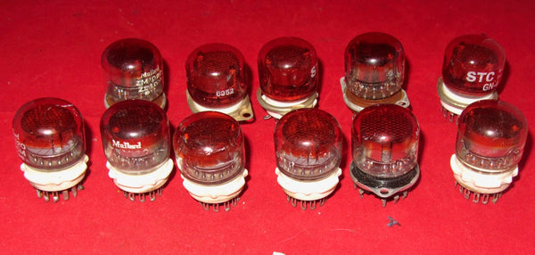 ZM1020, MULLARD, NIXIE TUBE, USED COMPLETE WITH B13B VALVE BASE, GN4, GN4A RED FILTERED, NIXIE TUBE, AS USED IN RACAL INSTRUMENTS
