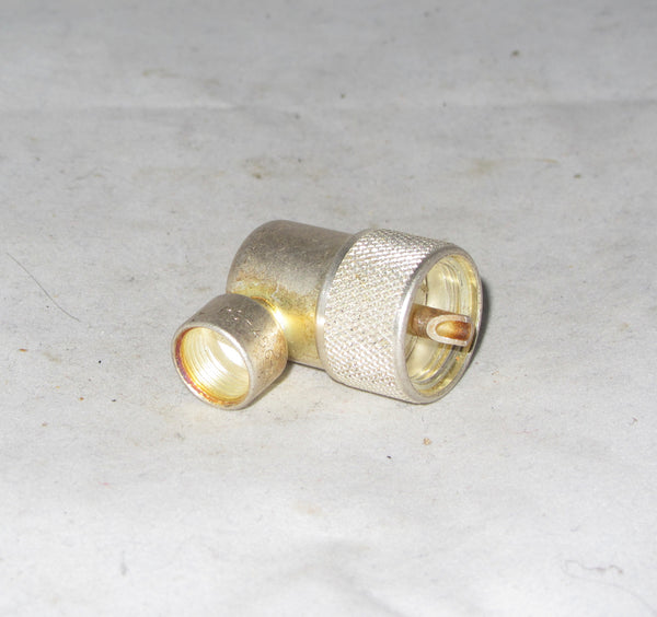 Angled PL Plug, PL 259, Male Plug, Right Angle, Clamp RG 213, Cable Connector