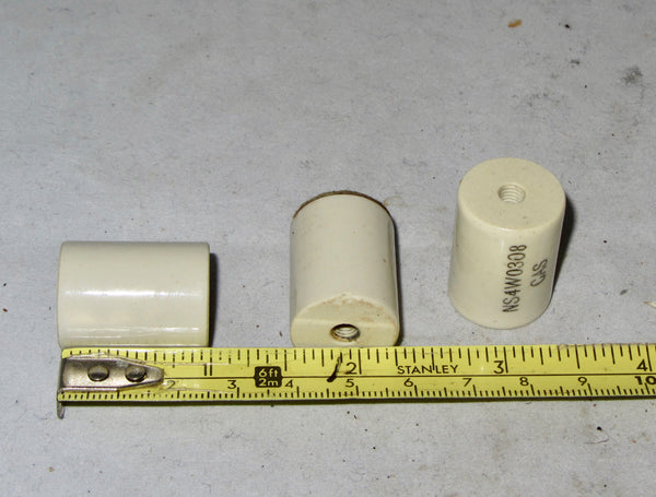 "CERAMIC, ""COTTON REEL"" STANDOFFS, APPROX 25MM LENGTH,  APPROX 12MM DIA"