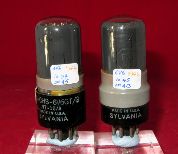 6V6GT, SYLVANIA, MATCHED PAIR ,VT-107A,  10CV/511, GREY GLASS, BRITISH AIR MINISTRY 10CV/511 WITH 1950S GREY ENVELOPE SLEEVE