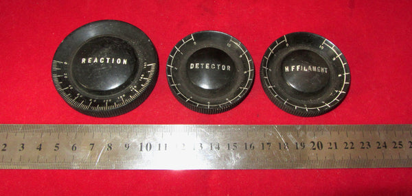 Becol, British Ebonite Ltd, 3 dial set, Reaction, Detector, HF Filament, From 1929
