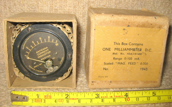 NEW BOXED METER FOR ANTENNA RELAY UNIT BC-442 CCT-29125 FOR SCR-274 ARC-5 COMMAND SET - MULLARD MAGIC
