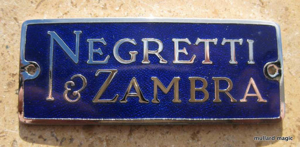 NEGRETTI & ZAMBRA BLUE VITRIFIED ENAMEL & CHROMED BRASS INSTRUMENT BADGES - MULLARD MAGIC - 1