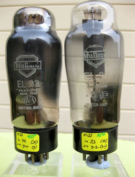 MATCHED PAIR OF MULLARD EL33 OLD SHIELD WHITE LABEL - MULLARD MAGIC