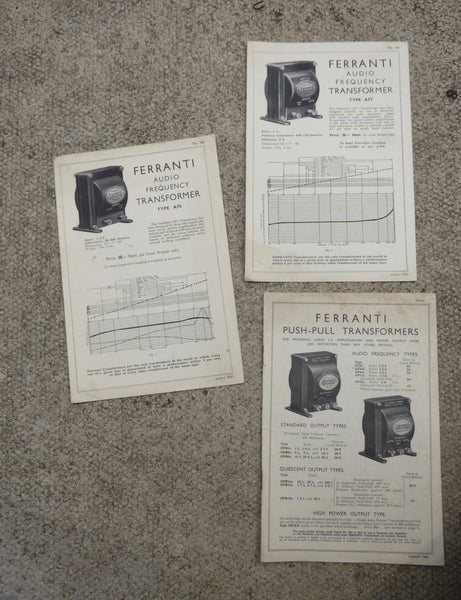 FERRANTI, AUDIO OUTPUT TRANSFORMERS, AF5, AF7, 1933. 3X SHEETS