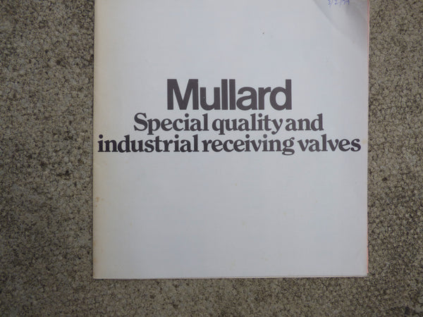 MULLARD, SPECIAL QUALITY & INDUSTRIAL RECEIVING VALVES, WALL CHART, 1979