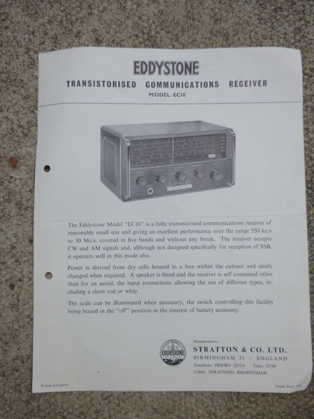EDDYSTONE, TRANSISTORISED COMMUNICATIONS RECEIVER, MODEL EC10, SPECIFICATON SHEET, 1964