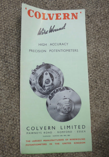 COLVERN, WIREWOUND, HIGH ACCURACY POTENTIOMETERS, CATALOGUE, 1955