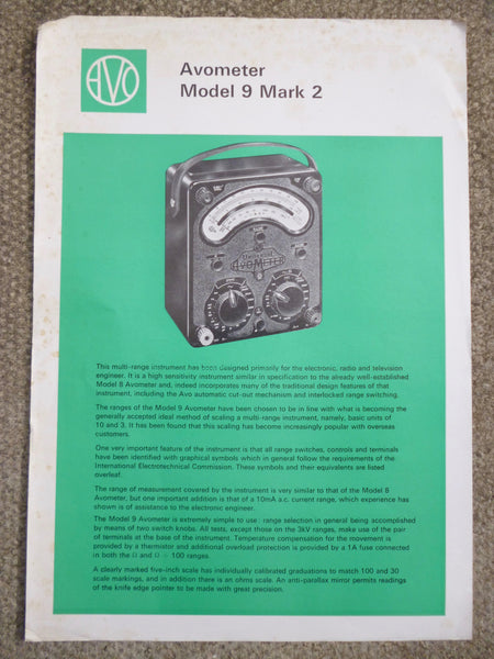 AVO, AVOMETER, MOIDEL 9 MARK 2 , DATA SHEET, 1968