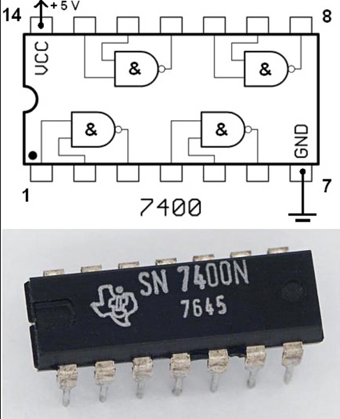 SN7400N  TEXAS INSTRUNENTS, INTEGRATED CIRCUIT, IC ,GATE NAND, 4CH 2-INP 14DIP
