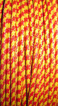 SILK BRAID COVERED VINTAGE 20 AWG HOOK UP WIRE  RED WITH YELLOW TRACER STRIPE