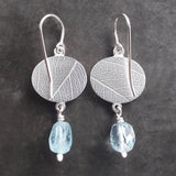 Aquamarine ovals fern drop earring