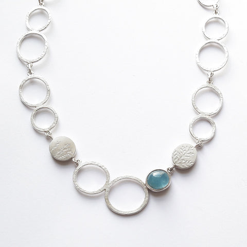 Aquamarine ovals necklace