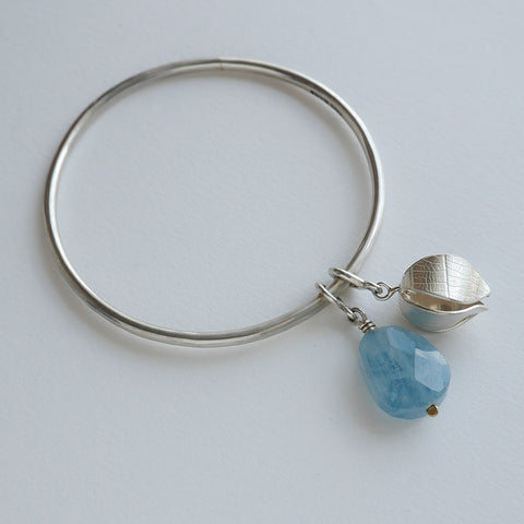 Aquamarine beech drop bangle