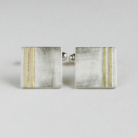 Square cufflinks gold line