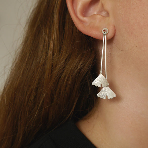 Double Ginkgo drop earring