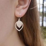 Teardrop leaf in leaf earring