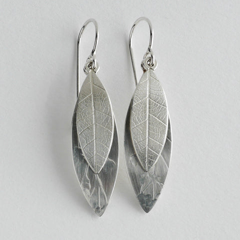 Curved leaf drop earring