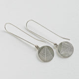 Round pierced leaf drop earring