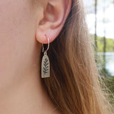 Pierced leaf tag drop earring