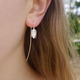 snowdrop flower long stem silver earring worn