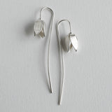 snowdrop flower long stem silver earring
