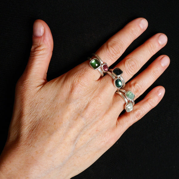 Rose cut tourmaline rings