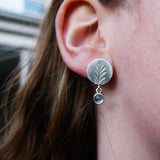 Moonstone drop fern earrings