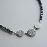 Grey pearl teardrop bead necklace