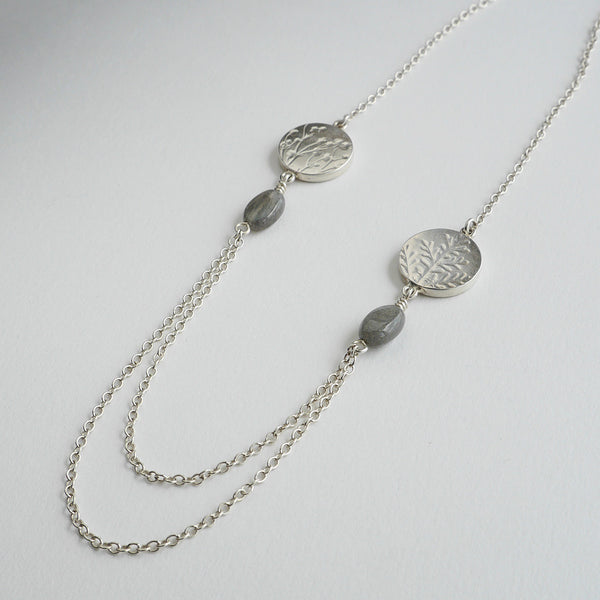 Labradorite coin bead necklace