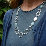 Long aquamarine bead ovals necklace