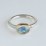 Moonstone oval hammered ring