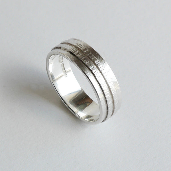 Silver texture ring