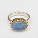 Rainbow moonstone pierced ring