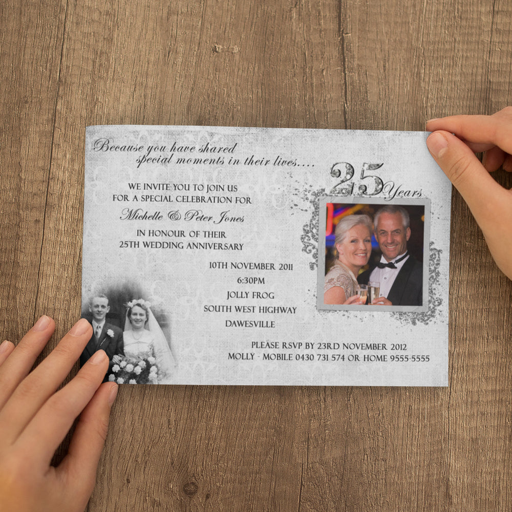 Michelle & Peter - 25th Silver Wedding Anniversary Invitation